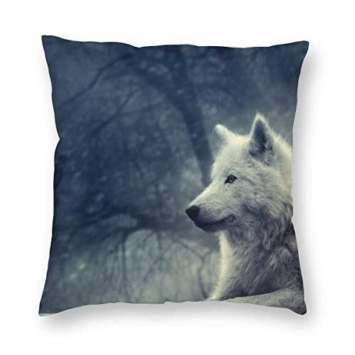 Osvbs White Wolf Painting Wallpaper Customized Multi-Code Creative Home Double-Sided Printed Pillowcase Without Pillow Core with Invisible Zipper -