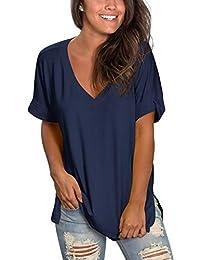 Women's V Neck T Shirt Rolled Sleeve Side Split Tunic Tops