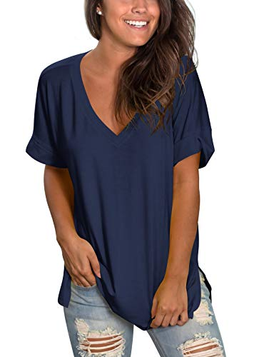 V Neck T Shirts Women Short Sleeve Tunic Flowy Tops Side Split Chic Navy Blue S