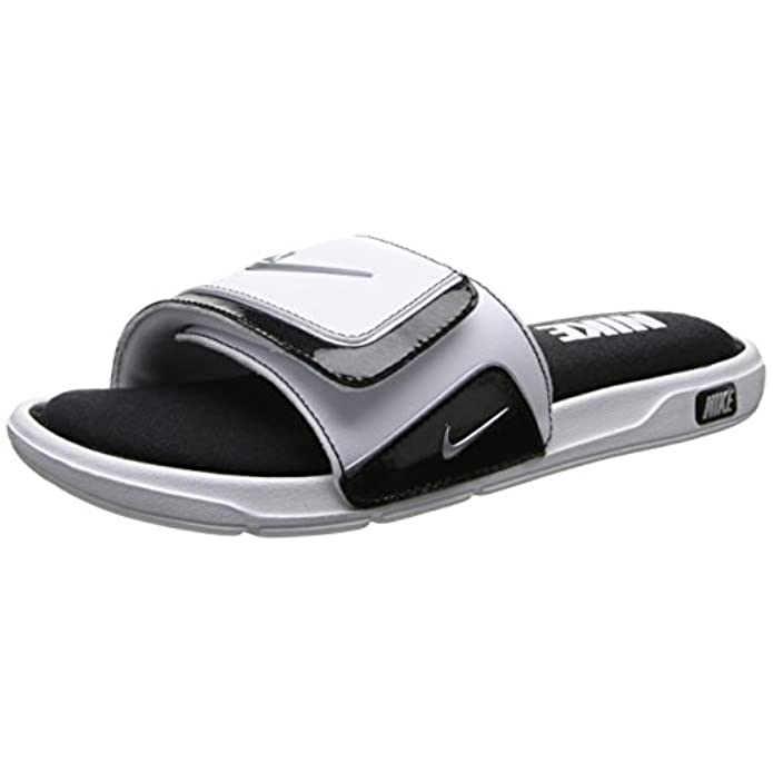 Nike Mens Comfort Slide 2 White Metallic argento Nero Stile 415 205 100 Dimensioni 6 M Us