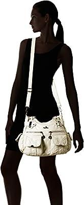 Angelkiss Large Double Zipper Multi Pocket Washed Shoulder bag