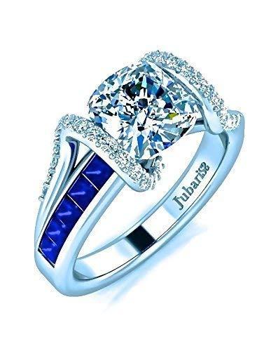 2 Tcw. Contemporary Blue Sapphire&Diamond Engagement Ring Cushion Cut Custom Tension Set Handmade White Gold Jubariss Fine Jewelry