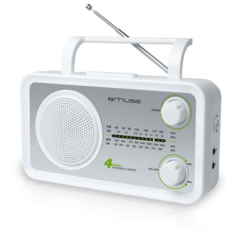 Muse M-05SW - Radio portátil (entrada AUX, jack de 3.5 mm, frecuencia de entrada de 50 Hz) color blanco: Amazon.es: Electrónica