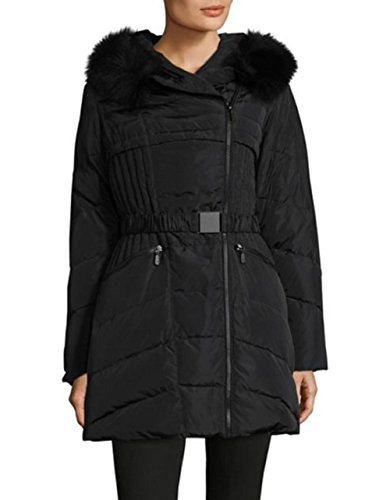 1 Madison Fox Fur-Trimmed Belted Hooded Down Coat Black (S)