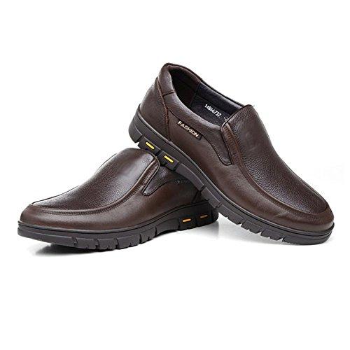 LYZGF Hommes Gentleman Business Casual Mode Papa Travail de Mariage en Cuir Chaussures Brown IykDyM0Tqz