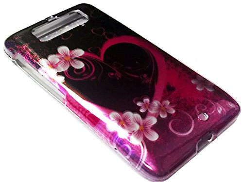 For Motorola DROID Mini XT1030 1030 Hard Snap on Protector Phone Cover Case + Happy Face Phone Dust Plug (Pink Heart Flower)