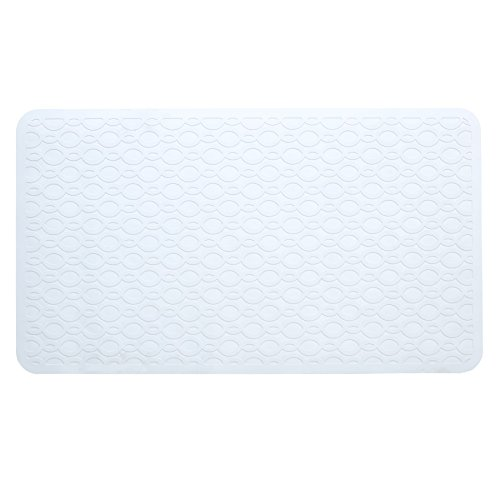 (SlipX Solutions Mildew Resistant Large White Rubber Bath Safety Mat Features Powerful Microban® Antimicrobial Product Protection (15