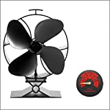 CRSURE Fireplace Fan Special for Big House-Newest Generation V Model Stove Fan 4-Blade - Large Airflow 50% Fuel Cost Saving Wood Stove Fan with Free Stove Thermometer for Wood/Log Burner/Fireplace