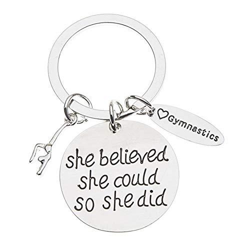 Sportybella Gymnastics Keychain- She Believed She Could So She Did Girls Gymnastics Gift- Gymnastics Jewelry for Gymnast