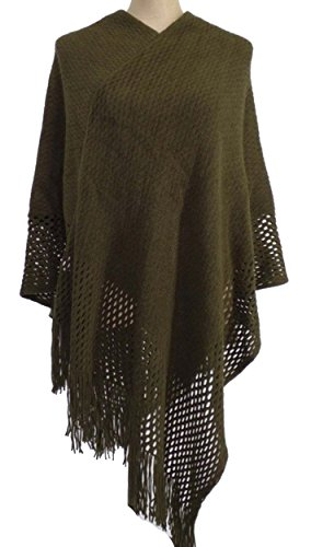 GUVU Womens Textured Soft Bobble Knit Tassel Crochet Poncho Cape Shawl Wrap(K4745) (Olive, One (Crochet Wrap)