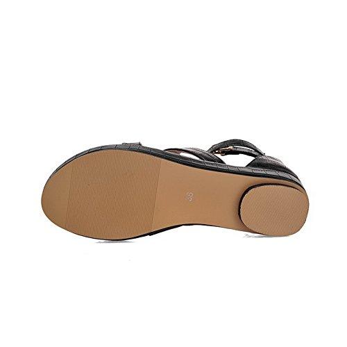 Agoolar Sólido Negro Dividida Hebilla Sintético Sandalia Mini Tacón Mujeres Puntera BwBrq0T