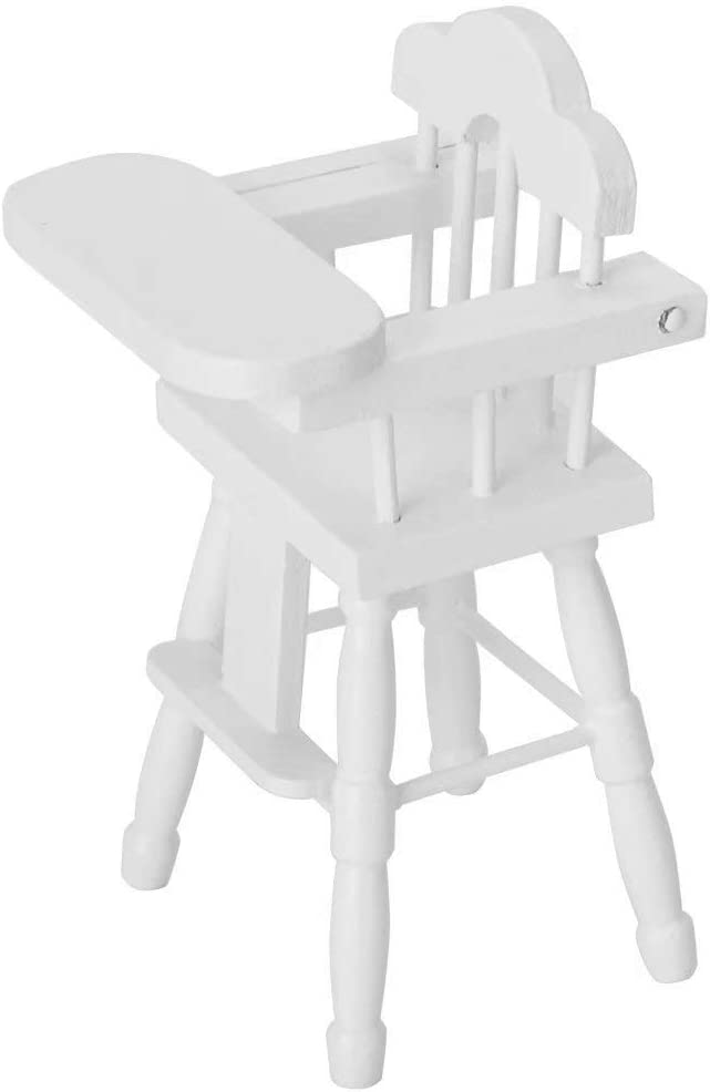 iLAZ 1:12 Scale Dollhouse Furniture Miniature World High Chair Mini Baby Chair, Decor for Doll House,Miniature Accessory Kids Pretend Toy,Creative Birthday Handcraft Gift - White