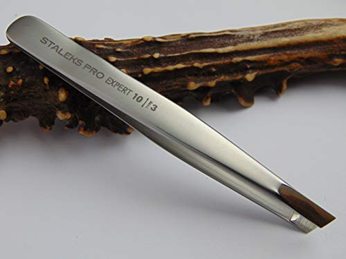 - Tweezers For Eyebrow - STALEKS PRO - Surgical Stainless Steel - Slant Tip Tweezer - Durability - Precision - Handmade - For Experts - And Professionals.