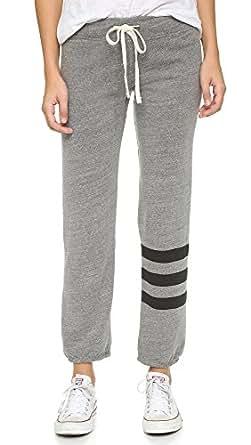 SUNDRY Women's Classic Stripe Sweatpants, Heather Grey, 1