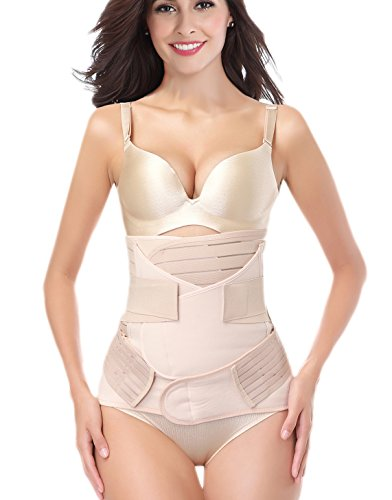 Postpartum Belly Wrap Girdle Band 3 in 1 Post Partum Support Recovery Belly Belt Shapewear, Nude, One size fits waistline 26