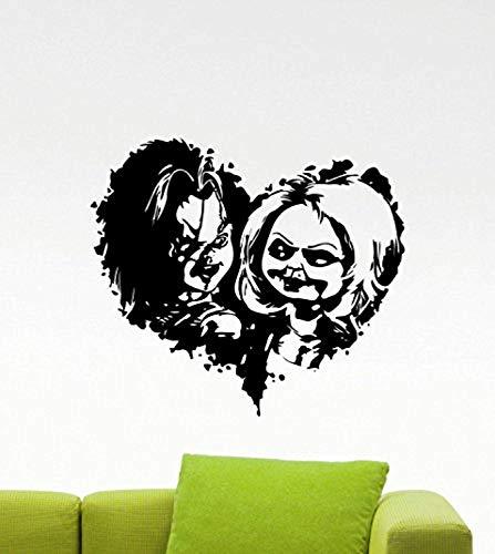 Child's Play Chucky Wall Decal Good Guy Heart Cartoon Movie Maniac Horror Poster Halloween Artwork Vinyl Sticker Nursery Wall Art Teen Kids Room Wall Decor Removable Waterproof Mural 155b -