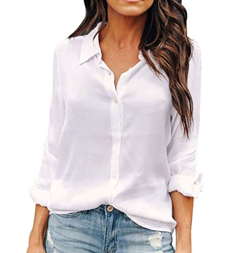 OMSJ Womens Button Down Shirts Long Sleeve Chiffon Office Casual Blouses (XL, White)