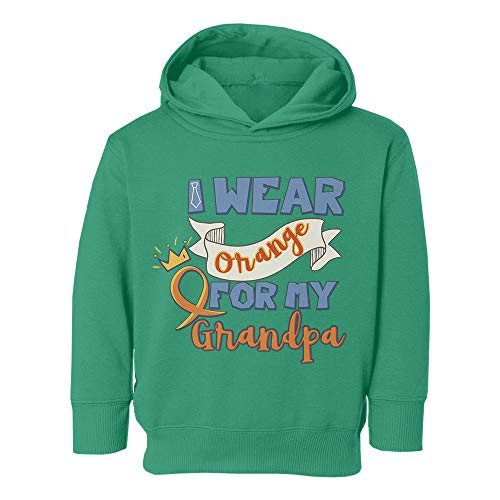 (Leukemia Cancer Support Wear Orange My Grandpa Youth & Toddler Hoodie Sweatshirt (Green,2T))
