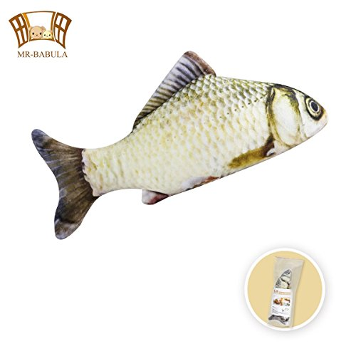 catnip toys, 3D Simulation Plush with replenish grass carp toy,for cats/dogs(11.8 in)