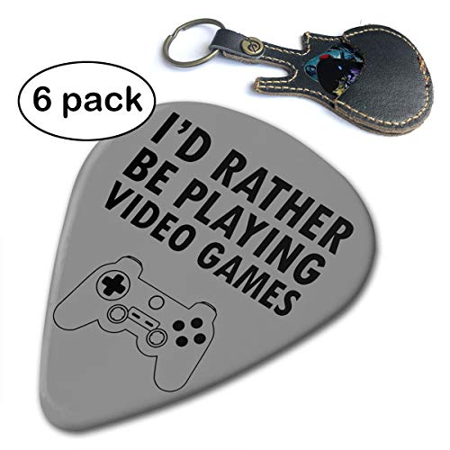 C-Emily Dressdown I'd Rather Be Playing Video Games 351 Shape Classic Guitar Picks (6 Pack) for Electric Guitar, Acoustic Guitar, Mandolin, and Bass (Thin, Medium, ()