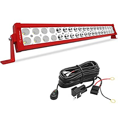 YITAMOTOR 120W LED Light Bar Red 24 inches Spot Flood Combo LED Work Light Bar with Wiring Harness Off Road Driving Light Compatible for Jeep, SUV, Truck, Car, ATV, 4x4, 4WD, Boat: Automotive