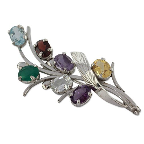 (NOVICA Multi-Gem Amethyst .925 Sterling Silver Brooch 'Rainbow Bouquet')