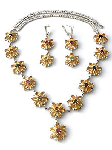 (Natural CITRINE (82 Gems), TOURMALINE and PERIDOT, and Cubic Zirconia, 14k White GOLD and Sterling Silver, Fabulous Flower Necklace (19.3