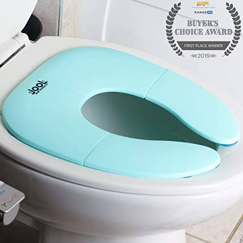 Folding Travel Potty Seat for Boys and Girls, Fits Round & Oval Toilets, Non-Slip Suction Cups, Includes Free Travel Bag - Jool Baby