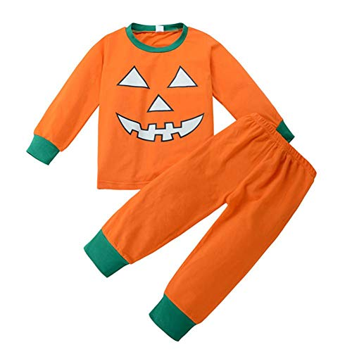 Halloween Boy Girls Pumpkin Hooded Blouse +Stripe Pants Halloween Outfits SetHalloween Clothes Baby Boys Girls Pumpkin Devil T shirt Tops+Pants Winter Outfits Set (5 years old, -