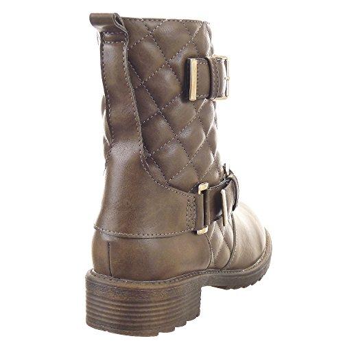 Sopily - Zapatillas de Moda Botines Cavalier Biker - Motociclistas Media pierna mujer zapato acolchado Hebilla Talón Tacón ancho 3.5 CM - plantilla sintética - forradas en piel - Taupe