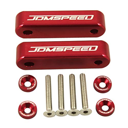 "JDMSPEED Anodized Red Hood Spacer Hood Riser 3/4"" for Honda Civic CRX Del Sol Acura Integra"