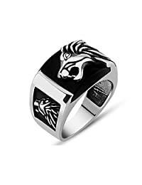 Turkish Jewelry Lion Motif Onyx Stone 925K Sterling Silver Men's Ring