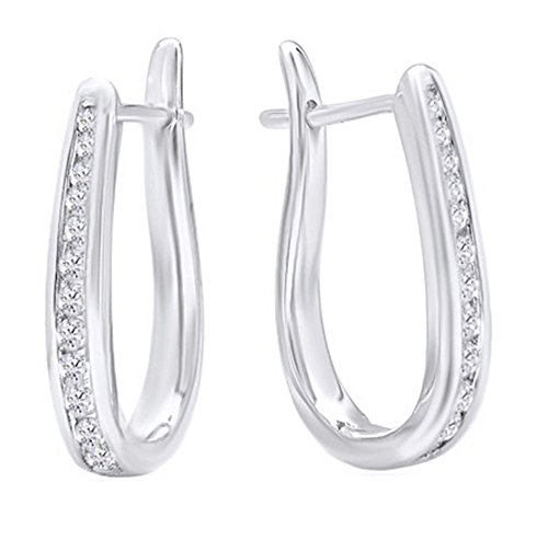 10K Solid Gold Flip Back Diamond Hoop Earrings (1/4ct tw),White