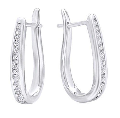 10K Solid Gold Flip Back Diamond Hoop Earrings (1/4ct tw),White ()
