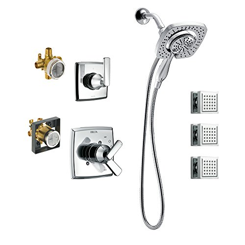 Delta 2 Spa - Delta KS17264I-DRB50-CH Ashlyn Monitor Shower Kit with In2ition, 3-Setting 2-Port Diverter, and 3 Square Surface Mount Body Sprays, Chrome