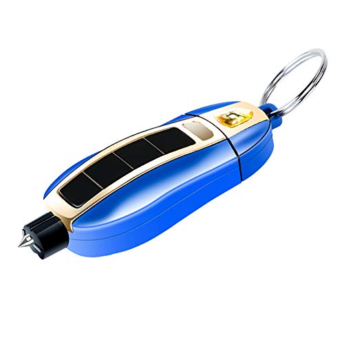 QUNQI STAR Glass Breaker with Seatbelt Cutter 2 in 1 Mini Key Chain Car Window Glass Hammer Belt Cutter Emergency Car Escape Tool(1-Blue)