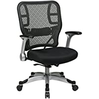 Space Seating Deluxe R2 SpaceGrid Back and Padded Mesh Seat, Self Adjusting Control, Platinum Finish Flip Arms and Platinum Coated Base Managers Chair