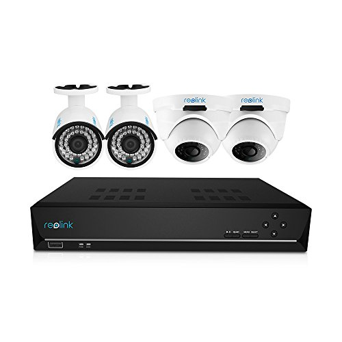 Home Business Video Security Camera System Wired, w/2 Bullet and 2 Dome HD 1440P Waterproof Outdoor Indoor PoE IP Cameras and 1 PC of 8-Channel 4MP NVR Kit with Built-in 2 TB HDD, Reolink RLK8-410B2D2