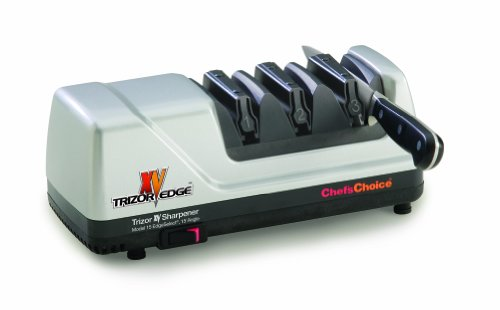 Chef'sChoice 15 XV Trizor Professional Electric Knife Sharpener EdgeSelect for Straight and Serrated Knives Diamond Abrasive Patented Sharpening System Made in USA, 3-Stage, Brushed Metal