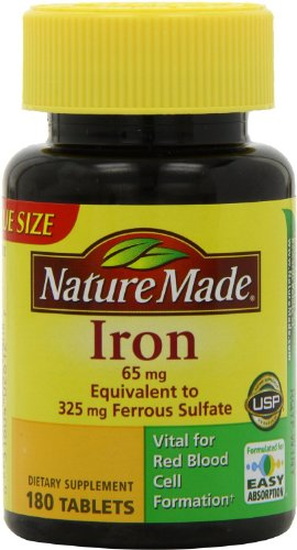 Nature Made Iron 65mg, 180 Tablets (Pack of 3) Nature-r9