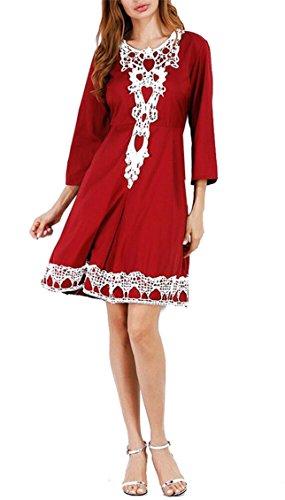 Jaycargogo Occasionnel O-cou Manches 3/4 Patchwork Crochet De Dentelle Aux Femmes Une Ligne Mini Robe Rouge