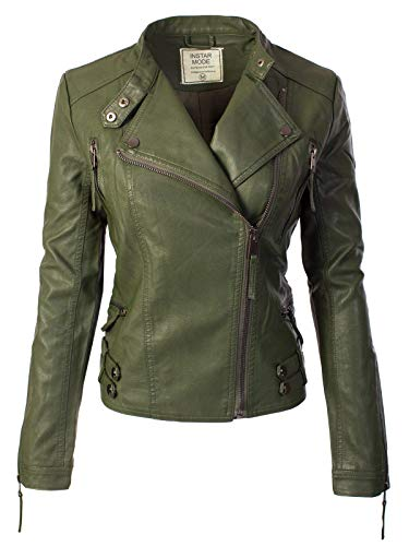 Instar Mode Women's Fashion Motorcycle Faux Leather Jacket Olive M ()