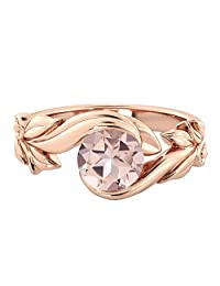 1.00 CT natural peach/pink VS Morganite Ring 14k Rose Gold Flower Leaves Designer