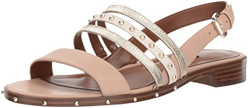 Nine West Flat Sandals - Nine West Women's CHAYLEN Leather Flat Sandal, Light Natural Multi, 7 M US