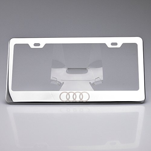 100% Stainless Steel Audi Logo Laser Engrave Chrome Mirror Polish License Plate Frame Holder with Logo Steel Screw Caps