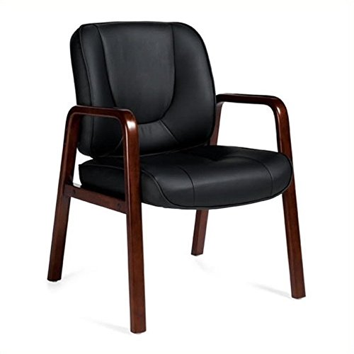 Offices To Go Luxhide Leather Guest Chair, 34 1/2''H x 24''W x 26''D, Black