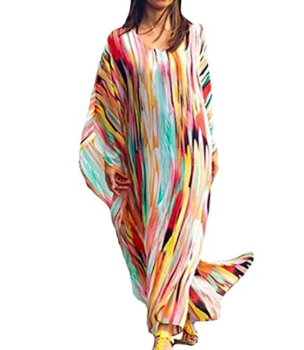 Bestyyou Women's Semi-Sheer Chiffon Long Caftan Lounger Printed Kaftan Dress Bathing Suit Bikini Swimsuit Cover Up Swimwear (Printed E) ()
