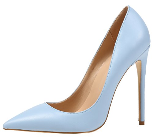 AOOAR Women's Pointed Toe Party High Heels Light Blue PU Pumps Shoes 9 M US ()