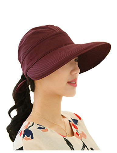 Lujuny Summer Sun Removable Cap 2in1 UV Protection Visor Big Brim Sun Hat for Women (Red)