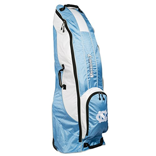 (Team Golf NCAA North Carolina Tar Heels Travel Golf Bag, High-Impact Plastic Wheelbase, Smooth & Quite Transport, Includes Built-in Shoe Bag, Internal Padding, & ID Card Holder)